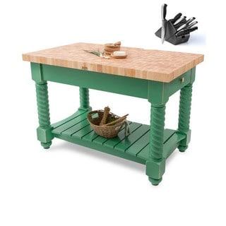 John Boos 54x32 Tuscan Isle Clover Green Butcher Block Table TUSI5432225EG & Bonus 13-Pc Henckels Knife Set