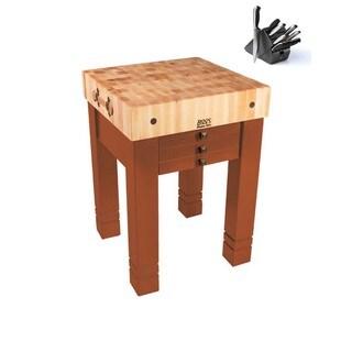John Boos 24x24 Spicy Latte Steamer Table CU-SB2424-SL with Bonus 13-piece Henckels Knife Set