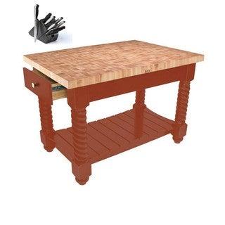 John Boos TUSI5432225EG-SL Tuscan Isle Brown Wood Block Table 54x32 & Bonus henckels 13 Pc Knife Set