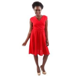 Hadari Women's A-Line Pleated Sleeveless High Fashion Dress