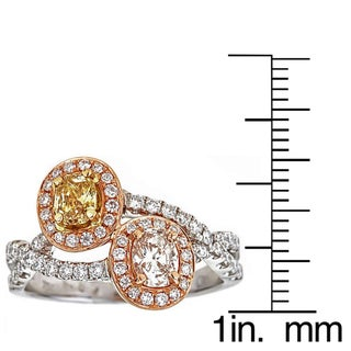 18k Two-tone Gold 1 1/3ct TDW Yellow/ Pink/ White Diamond Ring (G-H, VS1-VS2)