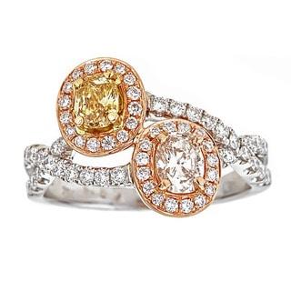 18k Two-tone Gold 1 1/3ct TDW Yellow/ Pink/ White Diamond Ring (G-H, VS1-VS2)