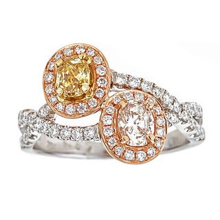 18k Two-tone Gold 1 1/3ct TDW Yellow/ Pink/ White Diamond Ring