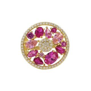 Luxiro Gold Finish Sterling Silver Lab-created Ruby Gemstone Ring - Pink