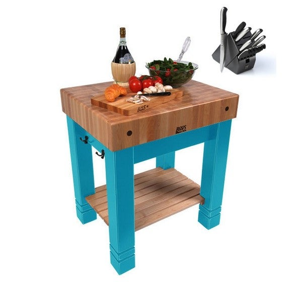 John Boos 30x24 American Heritage Caribbean Blue Maple Butcher Block Table Cu Bb3024 Cb Henckels 13 Pc Knife Set Free Shipping Today