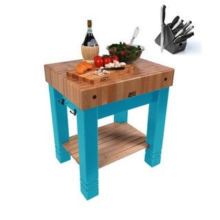 John Boos 30x24 American Heritage Caribbean Blue Maple Butcher Block Table CU-BB3024-CB & Henckels 13 Pc Knife Set