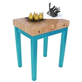John Boos CU-CB3024-CB Carribbean Blue Wood 30-inch x 24-inch Butcher-block Table With Bonus Henckels 13-piece Knife Set