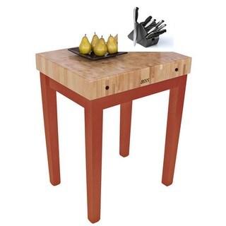 John Boos Spicey Latte CU-CB3024-SL Wood 30-inch x 24-inch x 36-inch Table and Bonus Henckels 13-piece Knife Set