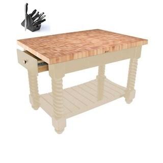 John Boos TUSI5432225EG Tuscan Isle Natural Wood Boos Block Table 54x32 & BONUS 13 Piece Henckels Knife Set