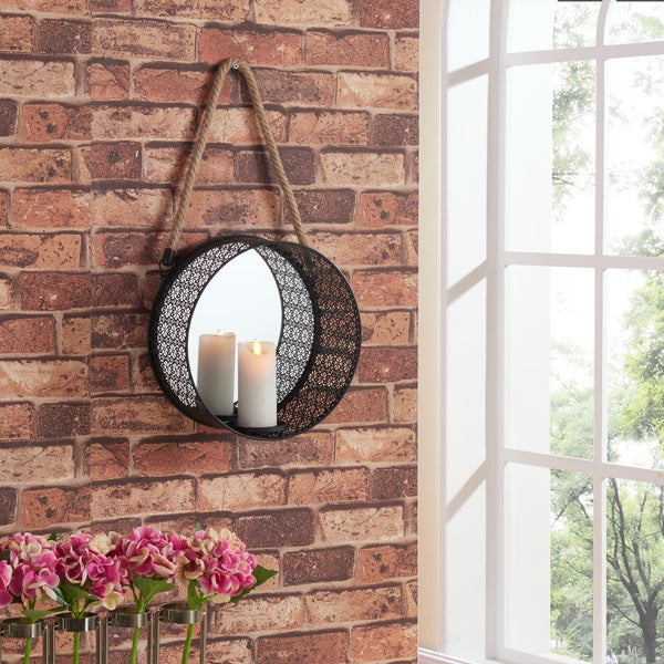 Danya B Round Mirror Pillar Candle Sconce with Filigree Metal Frame and Hanging Rope