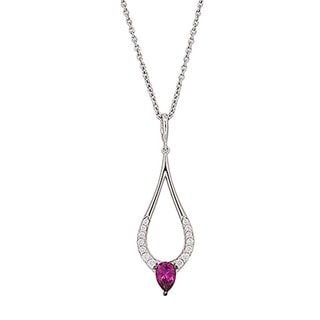 Kabella Sterling Silver Red Cubic Zirconia Teardrop Pendant