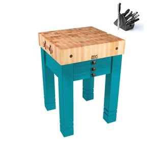 John Boos CU-SB2424-CB Caribbean Blue Wood 24-inch x 24-inch Steamer Table with Henckels 13 Pc knife Set