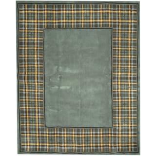 Herat Oriental Indo Hand-tufted Tibetan Teal/ Gold Wool Rug (7'6 x 9'6)