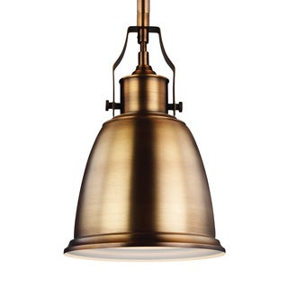 Feiss Mini 1-light Aged Brass Pendant