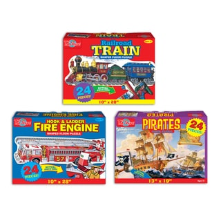 TS Shure Match'N Snap 3 Puzzles, Train, Fire Engine, Pirate Ship