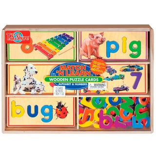 TS Shure Alphabet and Numbers Match 'N Learn Wooden Puzzle Cards