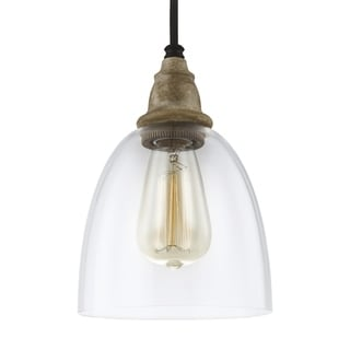 Feiss Mini 1-light Driftwood / Dark Weathered Zinc Pendant