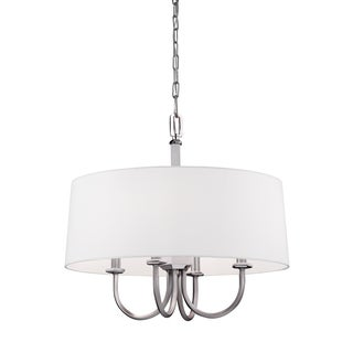 Feiss Drum 4-light Satin Nickel / Polished Nickel Chandelier