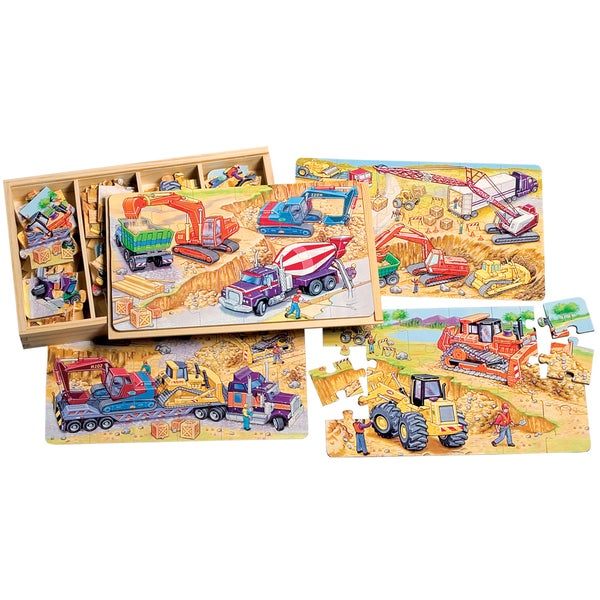 TS Shure Construction Vehicles 4 Large Puzzles in Wooden Box