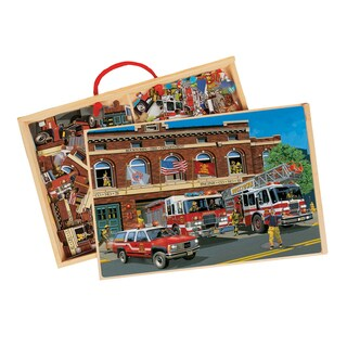 TS Shure Back in Time American Fire Trucks 2 Wooden Puzzles