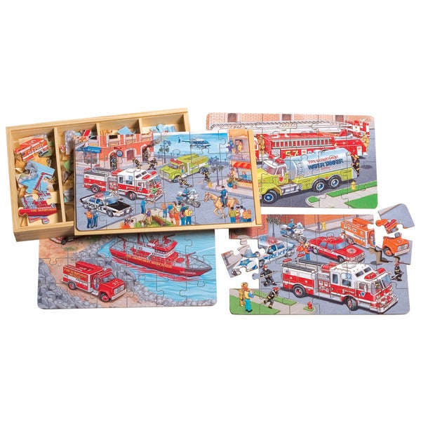 TS Shure Emergency Vehicles 4 Large Puzzles in a Wooden Box