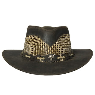 Cowboy Style Handmade Genuine Leather Hat (Ecuador)