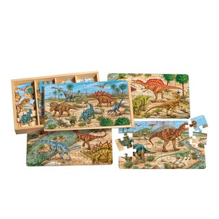 Prehistoric Dinosaurs 4 Large Puzzles in Wooden Box