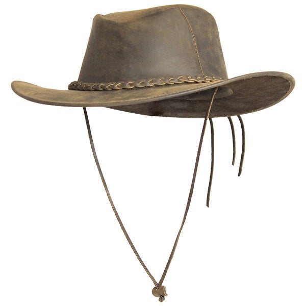 f6f266bd Handmade The Real Deal Outback Rustic Style Cowhide Leather Hat (Ecuador)