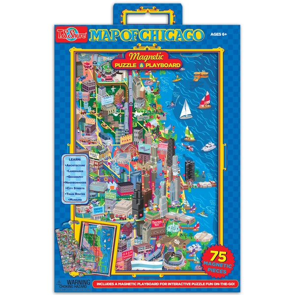 TS Shure Map of Chicago Magnetic Playboard and Puzzle
