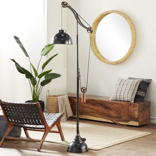 Industrial 77 Inch Black Aluminum Adjustable Pulley Lamp by Studio 350