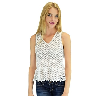 Women's Relished White Cotton and Polyester Chevron Lace Peplum Tank Top
