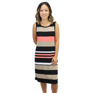 Relished Women's Naples Nostalgia Multicolor Spandex Polyester Round Neck Sleeveless Striped Sundress