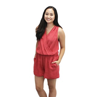 Relished Women's Red Nylon/Rayon Crossover V-neck Romper
