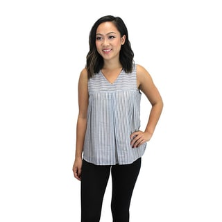 Relished Women's Blue Cotton Striped Trapeze Top