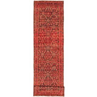 eCarpetGallery Persian Vogue Black/Red Hand-knotted Wool Rug (3'5 x 13'4)
