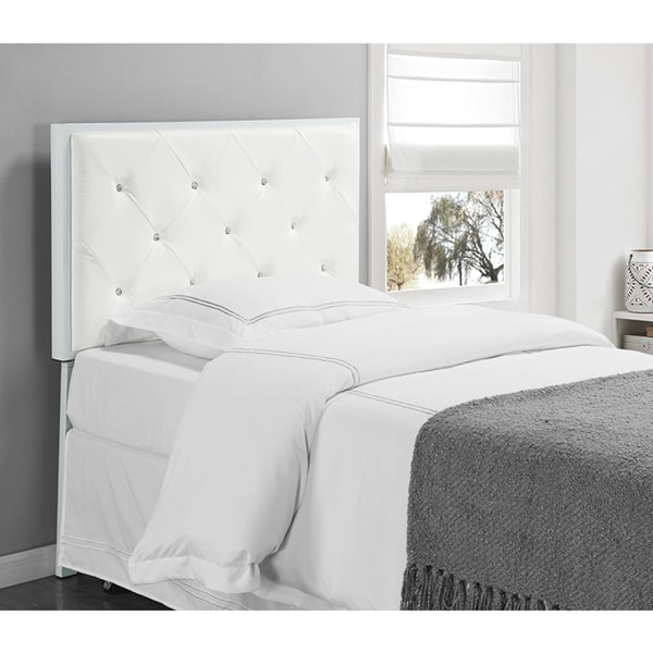 White Faux Leather Twin Upholstered Headboard