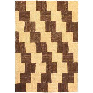 eCarpetGallery Bohemian Hand-made Beige/Brown Wool Kilim (4'11 x 7'4)