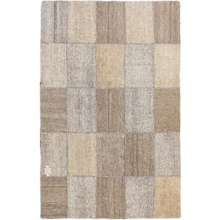 eCarpetGallery Moldovia Mod Patch Beige/Gray/Brown/Multi Cotton Handmade Kilim (4'10 x 7'6)