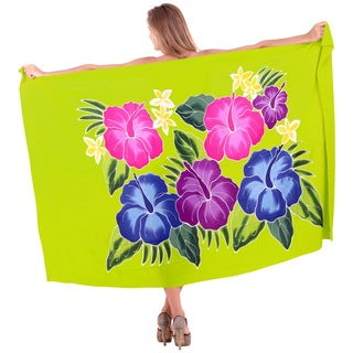 La Leela Cover up Hibiscus Hand Paint Soft Rayon Women Sarong 78X43Inch Green