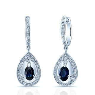 Estie G. 14k White Gold Blue Sapphire 1/5ct TDW Diamond Hoop Earrings (H-I, VS1-VS2)