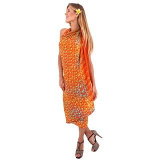 La Leela Smooth Rayon Cover up Heart Beach Sarong Bikini Skirt 78X43Inch Orange