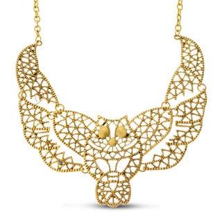 Adoriana Gold Over Brass Owl Bib Necklace