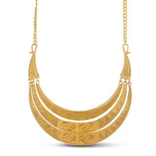Adoriana Greek Goddess Gold Over Brass Bib Necklace