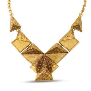 Adoriana Gold Over Brass V Pyramid Bib Necklace|https://ak1.ostkcdn.com/images/products/11858966/P18759152.jpg?impolicy=medium