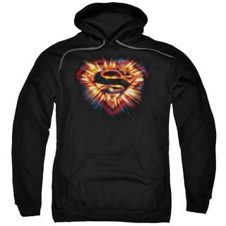 Superman/Space Burst Shield Adult Pull-Over Hoodie in Black