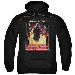 JLA/Heroes United Adult Pull-Over Hoodie in Black
