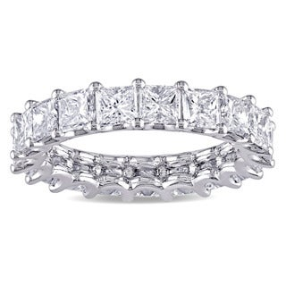Miadora Signature Collection Platinum 4ct TDW IGI Certified Princess-cut Diamond Stackable Eternity - White