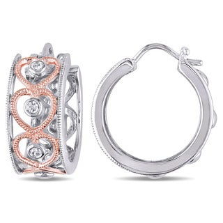 Miadora Two-tone White and Rose Sterling Silver 1/8ct TDW Diamond Heart Hoop Earrings