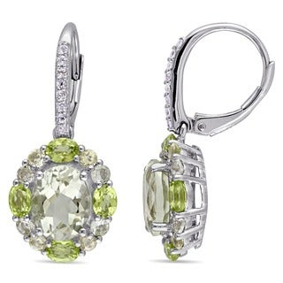 Miadora Sterling Silver Oval and Round-cut Green Amethyst, Topaz and Quartz Halo Drop Leverback Earrings