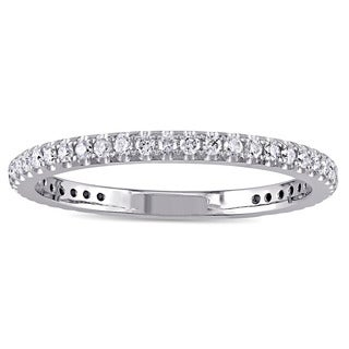 Miadora 14k White Gold 1/6ct TDW Diamond Stackable Anniversary Wedding Band (G-H, SI1-SI2)